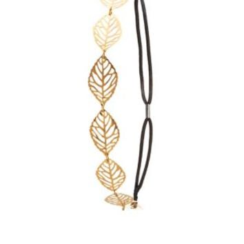 Gold Cut-Out Leaf Metal Stretch Headband by Charlotte Russe