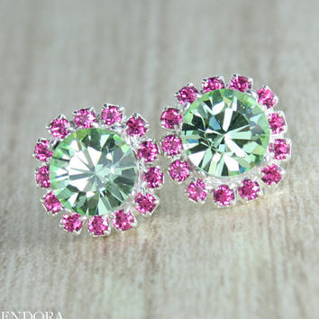 Mint green crystal earring Mint green crystal earrings Bridesmaid earrings jewelry Mint pink wedding jewelry Pink and Green wedding,Mint