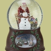 Musical Santa Snow Globe - Revolves When Wound Up To Play
