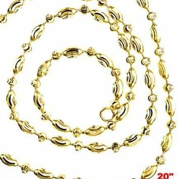 """14K Yellow Gold layered on 925 Silver diamond cut Moon Chain / Necklace-2mm- 20"""""""