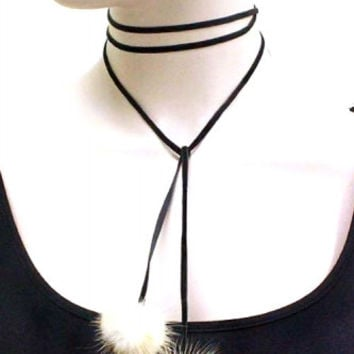 VELVET CHOKER RABBIT FUR NECKLACE SET - CREAM