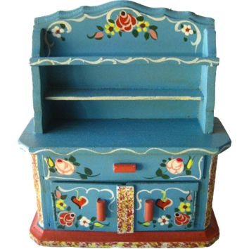 Miniature China Cabinet / Bavarian Style Hutch Miniature Hand Painted China Cabinet by Dora Kuhn West Germany / Dollhouse Furniture