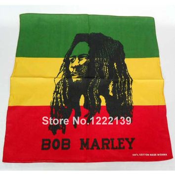 60pcs/lot Fashion Hip-hop Bandanas For Unisex Square Headband Scarf Scarves BOB MARLEY Rasta Headkerchief Cotton Head Wrap