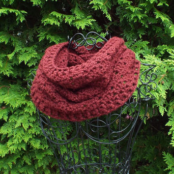 Oxblood Wine Cowl - Womens Crochet Neck Warmer - Ladies Circle Scarf - Chunky Scarf
