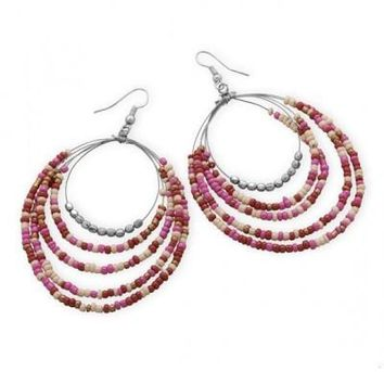 Five Row Pink Graduated Drop Fashion Earrings
