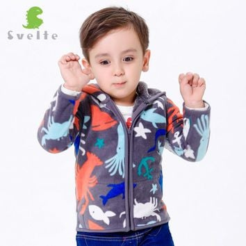 Svelte Brand Autumn Winter Children Boys Girls Unisex Heavy Fleece outerwear Prints Pattern Polar Bear Jersey Hooded Costume