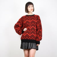 Vintage Red Black Sweater 1980s Jumper New Wave Chevron Stripe Knit Pullover Chunky Knit Sweater Cosby Sweater 80s Knit M L Extra Large XL