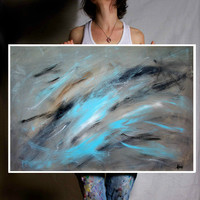 Abstract Wall Art Original Abstract Painting on paper - Blue and Grey Art