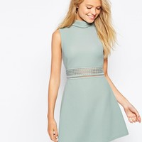ASOS A line Dress in Texture with High Neck and Lace Inserts