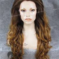"26 inch Heat Safe Synthetic Lace Front in Curly Texture ""Calypso"" in Rooted Reddish Brown"