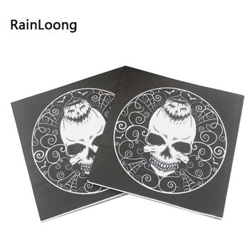 [RainLoong]33cm*33cm Halloween Skull Paper Napkins Cushaw Napkins Decoration Servilleta 2 layer 20pcs/pack