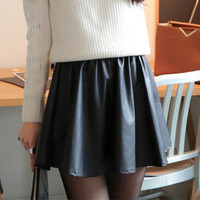Women's Black Faux Leather Pleated High Waisted A-Line Skirt