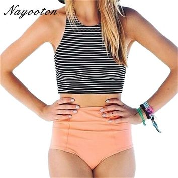 New black white striped design Two Piece swimsuit high waist women swimming suit Simple bikini swimwear