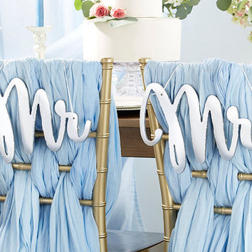 Mr and Mrs Silver Mirror Chair Backers Signs. Real Mirror. Set includes both designs. Perfect for sweetheart tables.