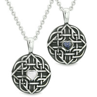 Amulets Love Couple Best Friends Celtic Shield Knot Magic Heart White Cats Eye Blue Goldstone Necklaces