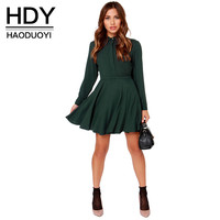 HDY Haoduoyi Fashion Ruffles Mini Dress Women Long Sleeve Slim Female A-line Shirt Dress BF Style Bodycon Dress Vestidos