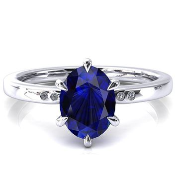 Maise Oval Blue Sapphire 6 Prong Diamond Accent Engagement Ring