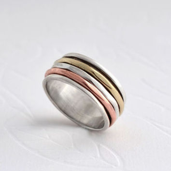 Silver Mixed Metal Triple Band Ring