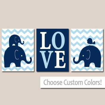 Boy ELEPHANT Nursery Wall Art, Canvas or Prints, Baby BOY Elephant Decor, Twin Boy Bedroom Decor, Navy Blue Elephant Pictures Set of 3