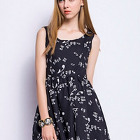 Black Music Notes Printed Sleeveless Skater Dress
