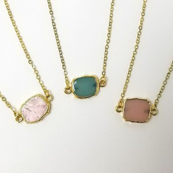 Druzy Gemstone Slice Choker Necklace - White Agate, Pink Agate, Turquoise or Mica