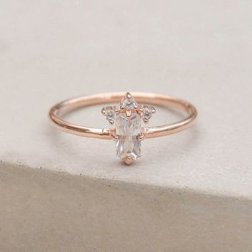 Baguette Crown Ring - Rose Gold