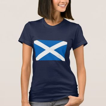 Women T Shirt with Flag of Scotland