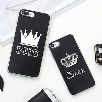 Valentine KING Queen Case for iPhone 6 Case for iPhone 5s 5 Cover Clear Silicone TPU Soft Phone Case for iPhone 8 7 6s Plus Cape
