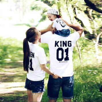 Cool Family Look Short sleeved T-shirt father Son mother and daughter clothes 01 King Queen Prince Family Matching Outfits ME MINIMEAT_93_12