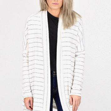 Hacci Cashmere Striped Pocket Cardigan {H. Grey/Ivory}