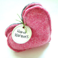 Hand Warmers PINK Hearts for Breast Cancer Awareness Gift Handwarmers Eco Mothers Day WormeWoole