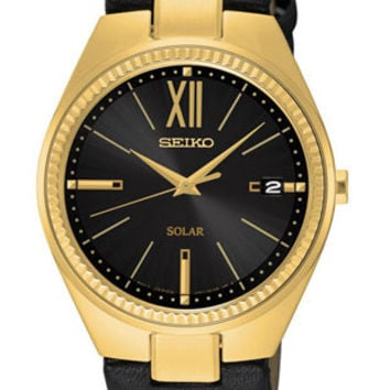 Seiko Womens Recraft Solar - Black Dial - Gold Tone Stainless - Leather Strap