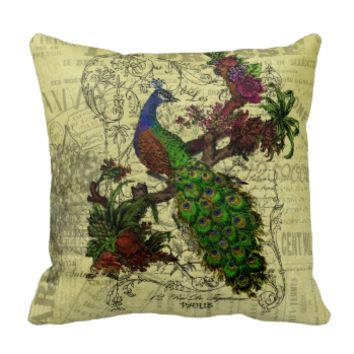 Vintage Peacock on Branch Apparel and Gifts Pillow
