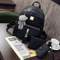 New Plaid 3Pcs/Set Backpack Women School Bags For Teenage Girls Cute Fashion Tassel Backpacks Hot Sac A Dos Purse And Bear