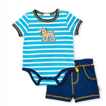Stripe bodysuit and Navy Shorts with Puppy Seat
