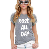 Rose All Day Print Grey T-Shirt