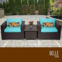 Belle 3 Piece Outdoor Wicker Patio Furniture Set 03a