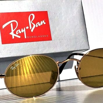 NEW* Ray Ban Round Lennon GOLD w GOLD Mirror Lens Sunglass RB 3547 001/9351/21