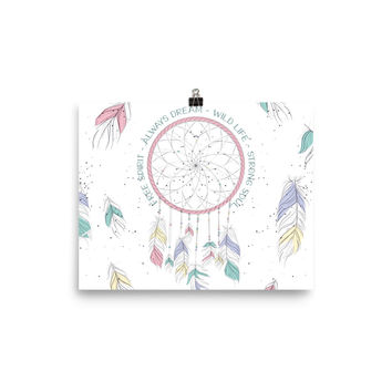 Watercolor Dream Catcher Poster Meditation Yoga Grunge Hippie
