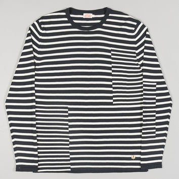 Armor-Lux Pull Jacquard Mix Stripe Navy/White
