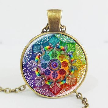 Handmade henna yaga necklace om symbol buddhism Mandala Necklace Pendant Art Jewelry Glass Photo Necklace Antique Bronze Plated