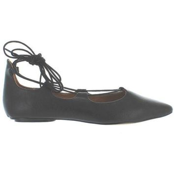 CREYONIG Chelsea Crew Gigi - Black Fancy Lace-Up Ballet Flat