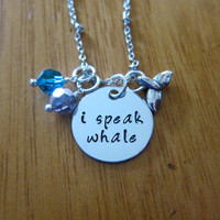 "Disney's ""Finding Nemo"" Inspired Necklace. Dory. I Speak Whale. Silver colored, Swarovski crystals, Whale Tail. Hand stamped."