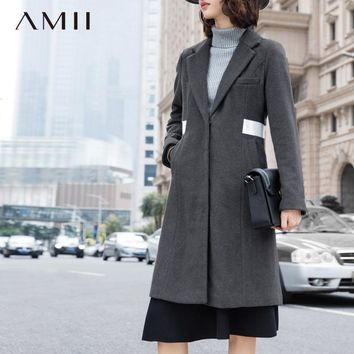 Women Woolen Coat Winter Covered Slim Fit Button Turn-down Collar Wool Blends