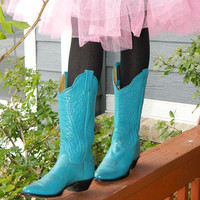 Womens teal/blue cowboy boots size 6B by Panhandle Slim