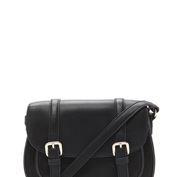 Faux Leather Buckled Crossbody