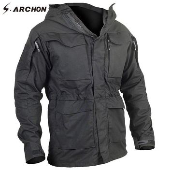 Trendy S.ARCHON New M65 Waterproof Military Pilot Jackets Men Windbreaker Camouflage Tactical Field Jacket Male Hooded Pocket Army Coat AT_94_13