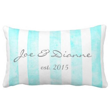 personalized custom pillow with blue stripes