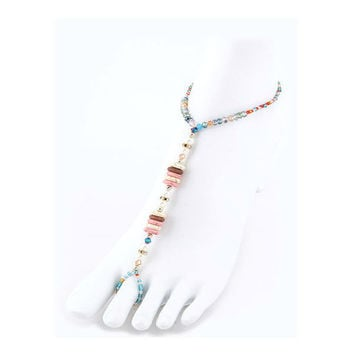 Multi-Color Precious Stone Discs & Pearl Stretch Barefoot Sandals Beach - 1 Pair