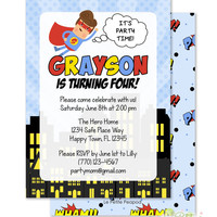 "Superhero Invitations - Personalized 5 x 7"" - Double-Sided and Printed Birthday Invitations - Super Hero Comics Birthday Party"